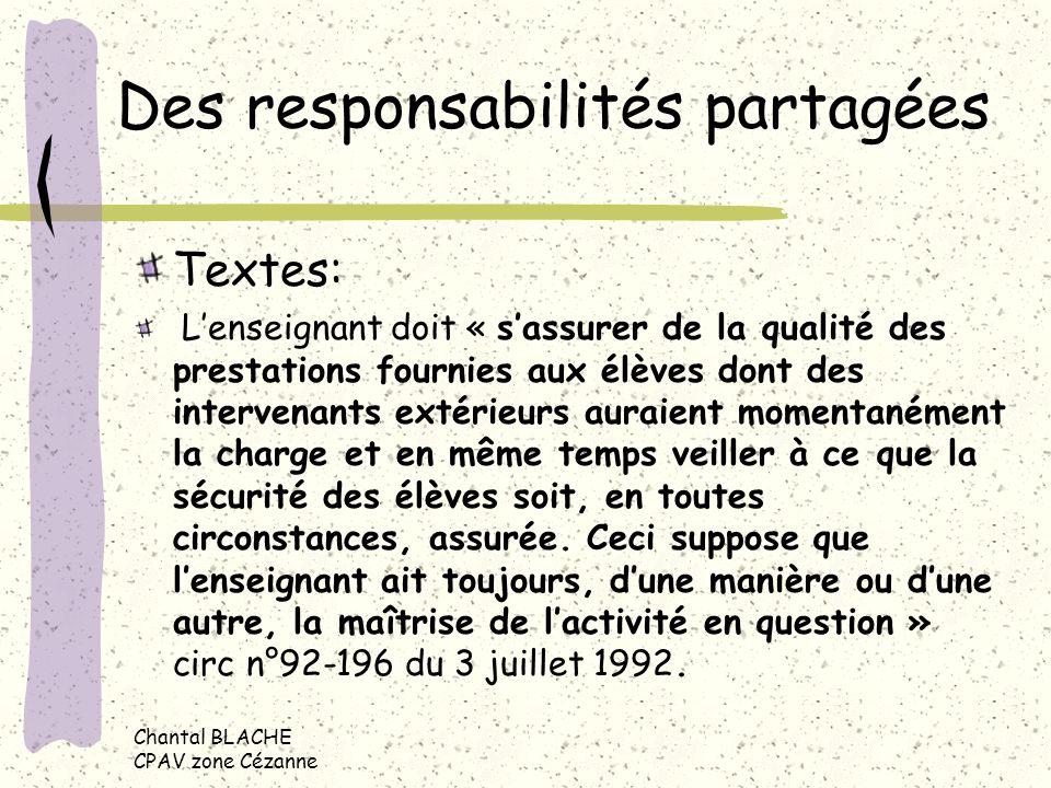 Chantal BLACHE CPAV zone Cézanne Des responsabilités partagées Textes: Lenseignant doit « sassurer de la qualité des prestations fournies aux élèves d