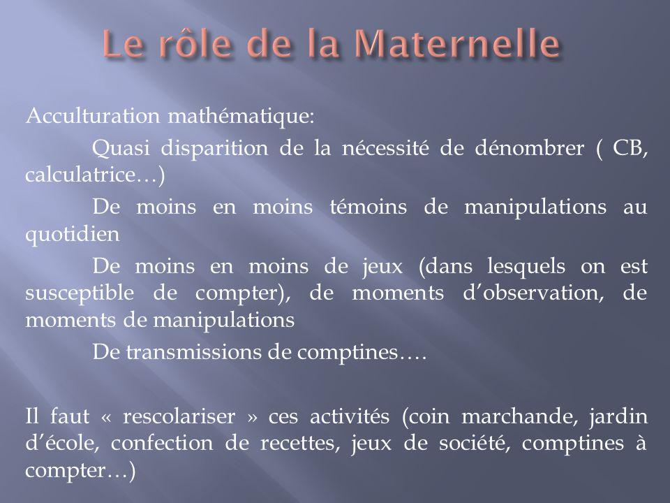 Acculturation mathématique: Quasi disparition de la nécessité de dénombrer ( CB, calculatrice…) De moins en moins témoins de manipulations au quotidie