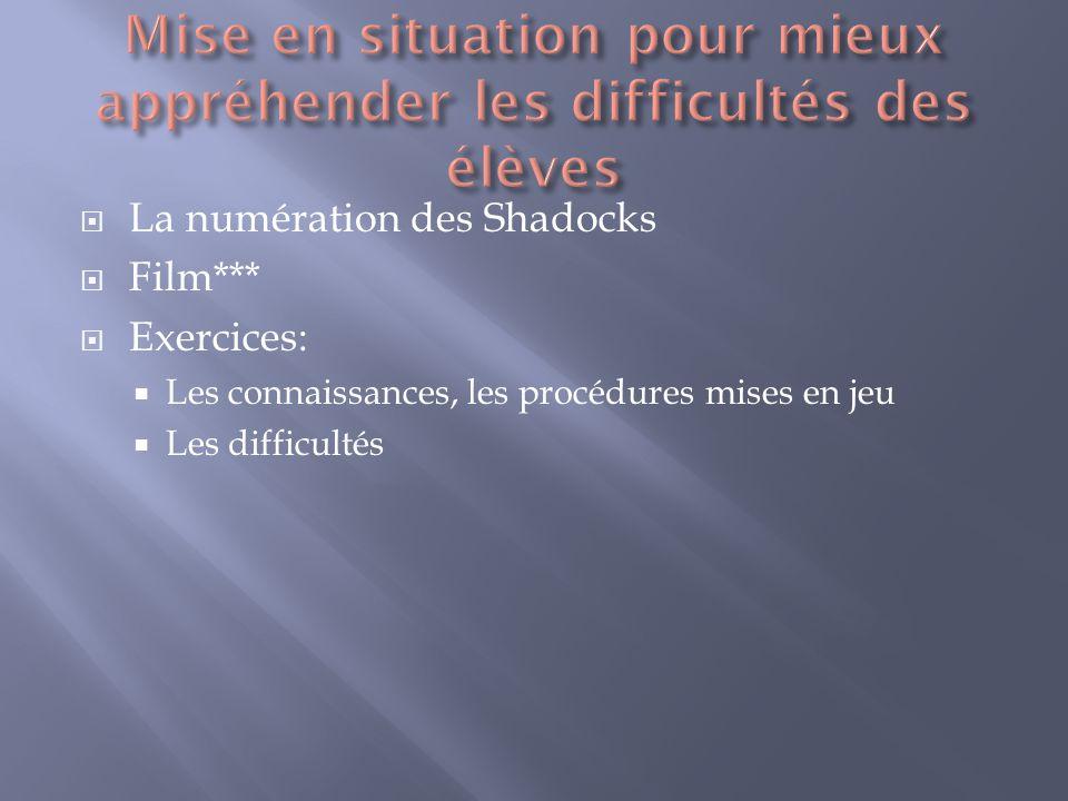 La numération des Shadocks Film*** Exercices: Les connaissances, les procédures mises en jeu Les difficultés