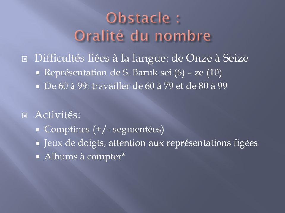 Difficultés liées à la langue: de Onze à Seize Représentation de S. Baruk sei (6) – ze (10) De 60 à 99: travailler de 60 à 79 et de 80 à 99 Activités: