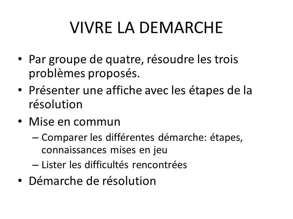 VIVRE LA DEMARCHE Par groupe de quatre, résoudre les trois problèmes proposés. Présenter une affiche avec les étapes de la résolution Mise en commun –