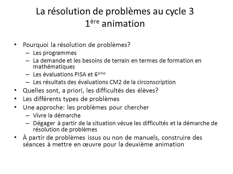 La résolution de problèmes au cycle 3 1 ère animation Pourquoi la résolution de problèmes? – Les programmes – La demande et les besoins de terrain en