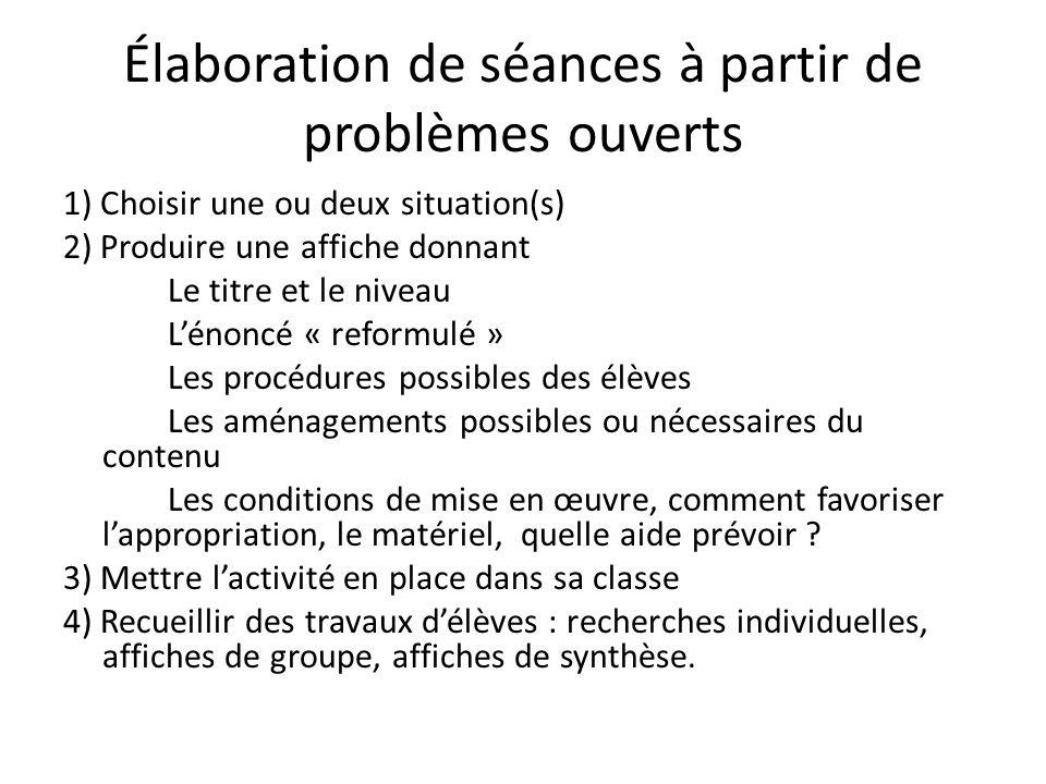Élaboration de séances à partir de problèmes ouverts 1) Choisir une ou deux situation(s) 2) Produire une affiche donnant Le titre et le niveau Lénoncé