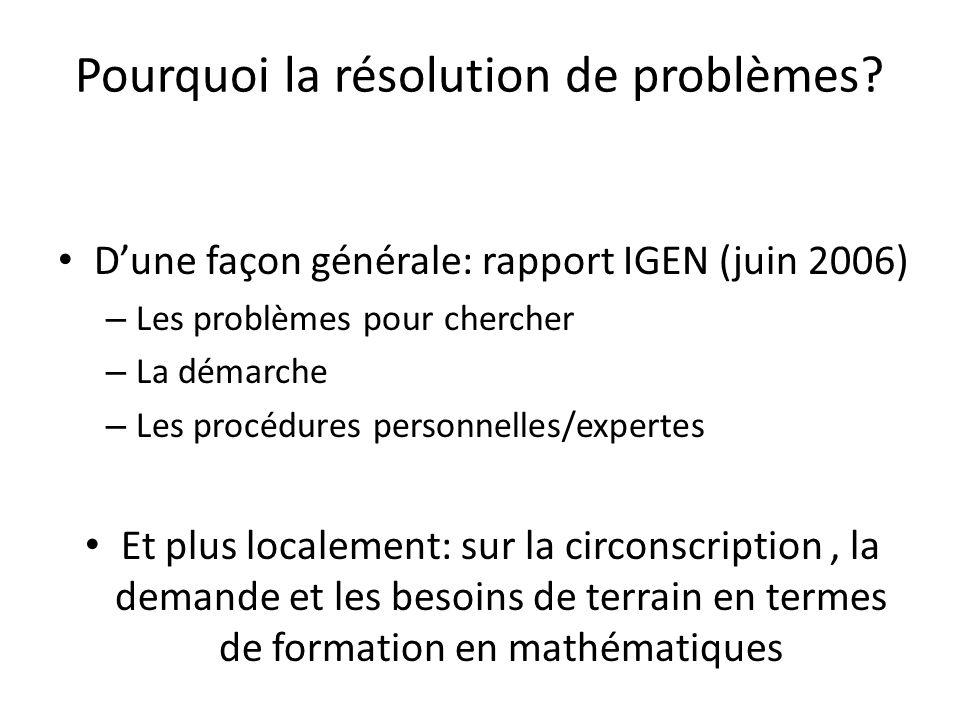Pourquoi la résolution de problèmes? Dune façon générale: rapport IGEN (juin 2006) – Les problèmes pour chercher – La démarche – Les procédures person