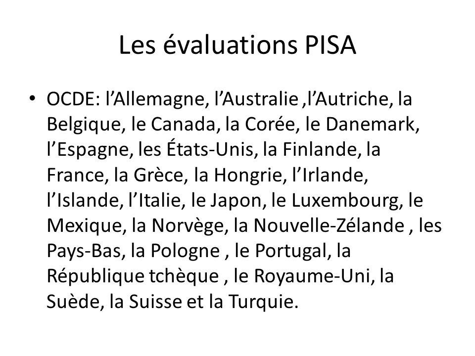 Les évaluations PISA OCDE: lAllemagne, lAustralie,lAutriche, la Belgique, le Canada, la Corée, le Danemark, lEspagne, les États-Unis, la Finlande, la