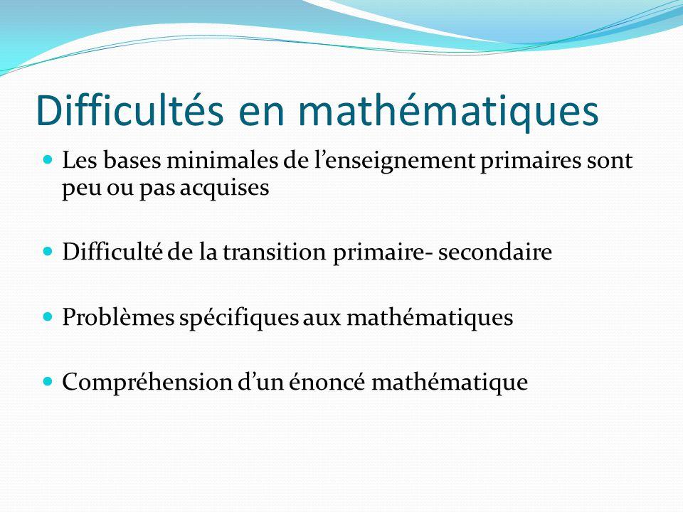 Difficultés en mathématiques Les bases minimales de lenseignement primaires sont peu ou pas acquises Difficulté de la transition primaire- secondaire