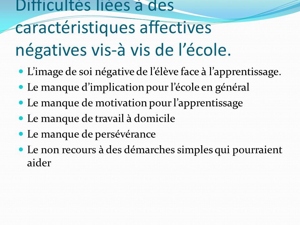 Difficultés liées à des caractéristiques affectives négatives vis-à vis de lécole. Limage de soi négative de lélève face à lapprentissage. Le manque d