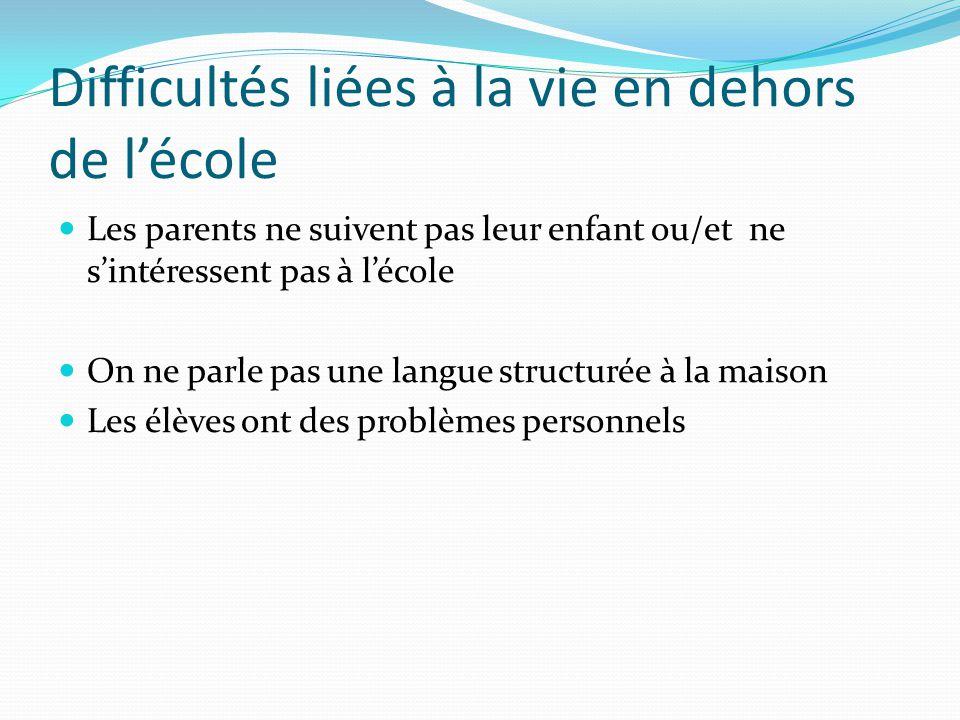 Difficultés liées à la vie en dehors de lécole Les parents ne suivent pas leur enfant ou/et ne sintéressent pas à lécole On ne parle pas une langue st