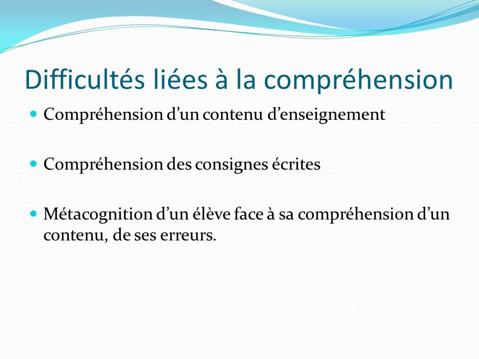 Difficultés liées à la compréhension Compréhension dun contenu denseignement Compréhension des consignes écrites Métacognition dun élève face à sa com
