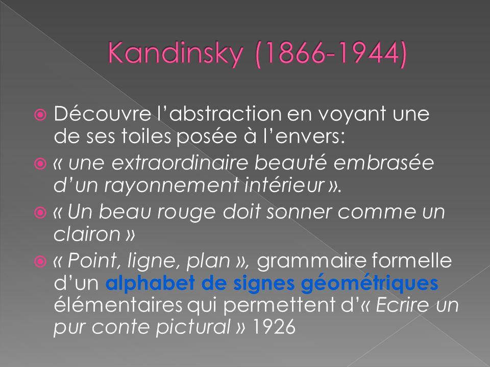 Découvre labstraction en voyant une de ses toiles posée à lenvers: « une extraordinaire beauté embrasée dun rayonnement intérieur ».