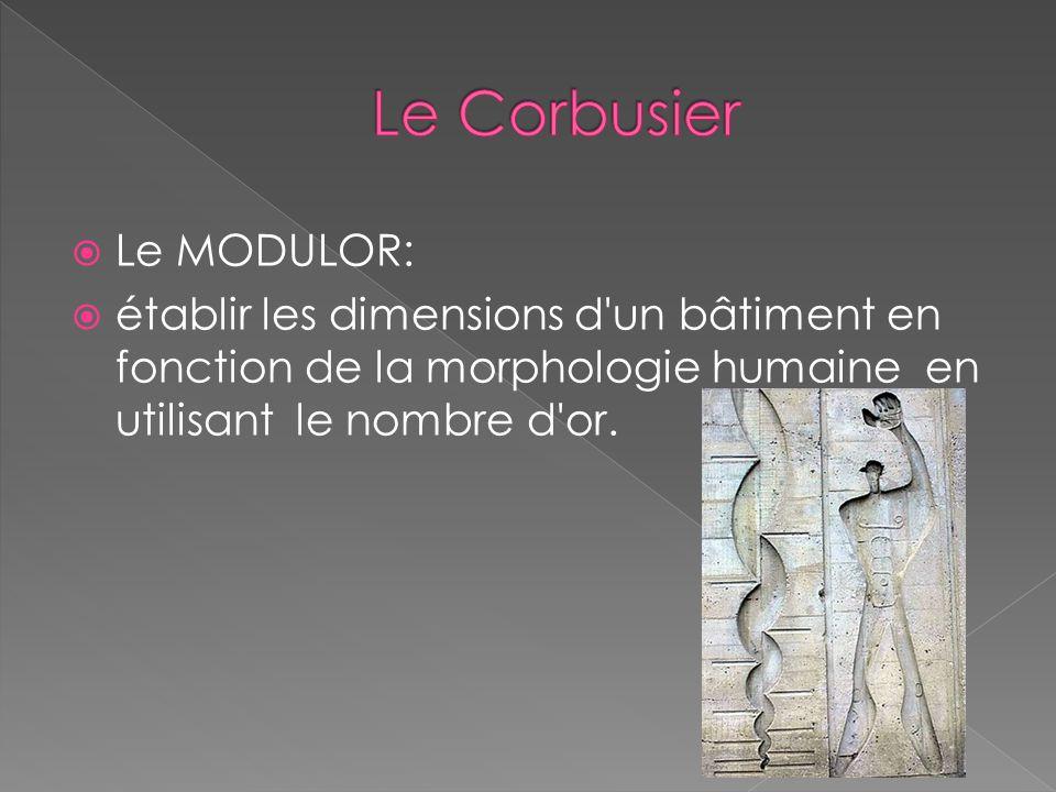 Le MODULOR: établir les dimensions d un bâtiment en fonction de la morphologie humaine en utilisant le nombre d or.