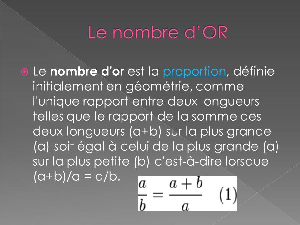 Le nombre d or est la proportion, définie initialement en géométrie, comme l unique rapport entre deux longueurs telles que le rapport de la somme des deux longueurs (a+b) sur la plus grande (a) soit égal à celui de la plus grande (a) sur la plus petite (b) c est-à-dire lorsque (a+b)/a = a/b.proportion