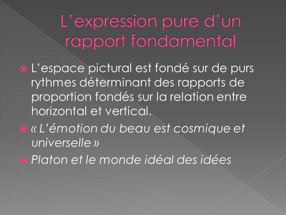Lespace pictural est fondé sur de purs rythmes déterminant des rapports de proportion fondés sur la relation entre horizontal et vertical.