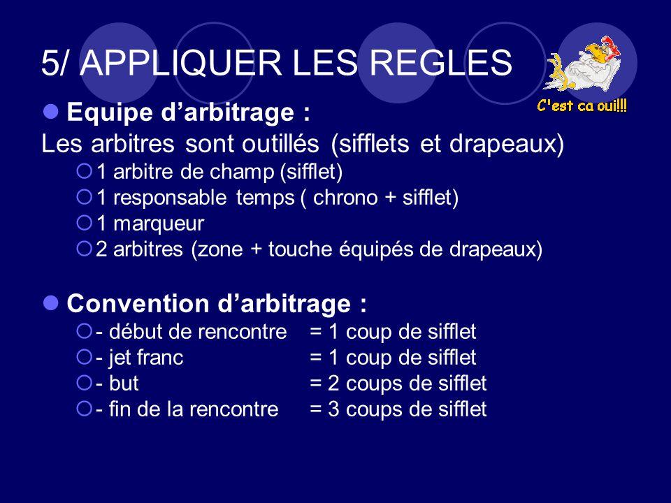 5/ APPLIQUER LES REGLES Equipe darbitrage : Les arbitres sont outillés (sifflets et drapeaux) 1 arbitre de champ (sifflet) 1 responsable temps ( chron