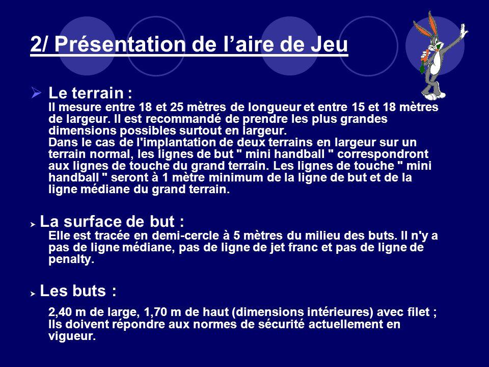 2/ Présentation de laire de Jeu Le terrain : Il mesure entre 18 et 25 mètres de longueur et entre 15 et 18 mètres de largeur. Il est recommandé de pre