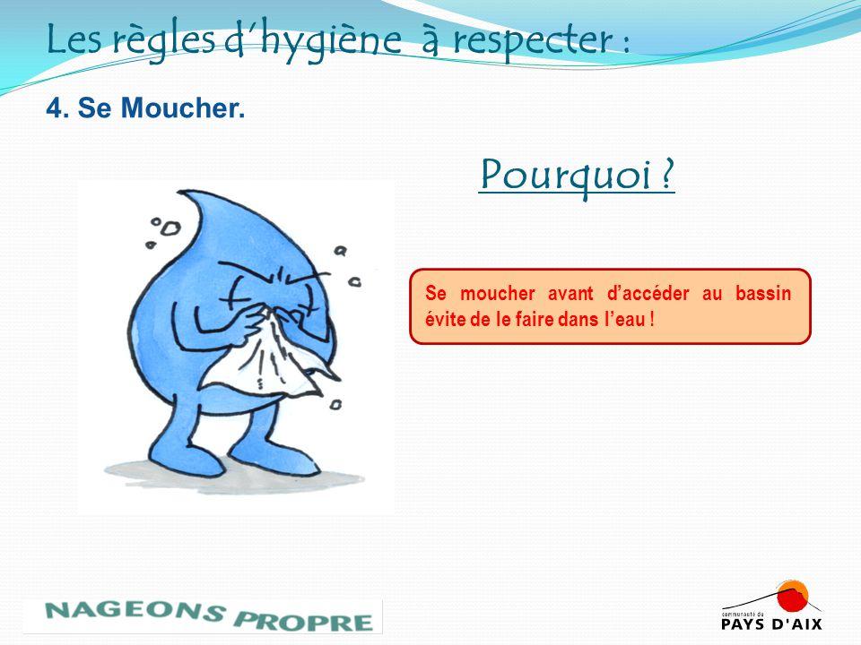 4. Se Moucher. Se moucher avant daccéder au bassin évite de le faire dans leau ! Pourquoi ? Les règles dhygiène à respecter :