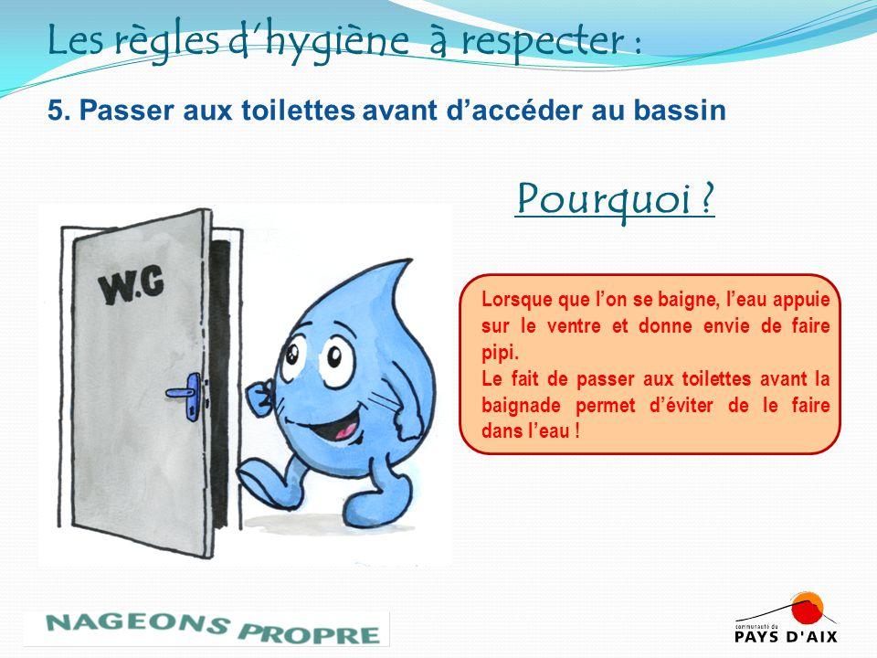 5. Passer aux toilettes avant daccéder au bassin Lorsque que lon se baigne, leau appuie sur le ventre et donne envie de faire pipi. Le fait de passer