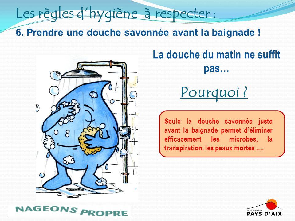 6. Prendre une douche savonnée avant la baignade ! Seule la douche savonnée juste avant la baignade permet déliminer efficacement les microbes, la tra