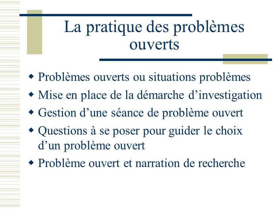 La pratique des problèmes ouverts Problèmes ouverts ou situations problèmes Mise en place de la démarche dinvestigation Gestion dune séance de problèm