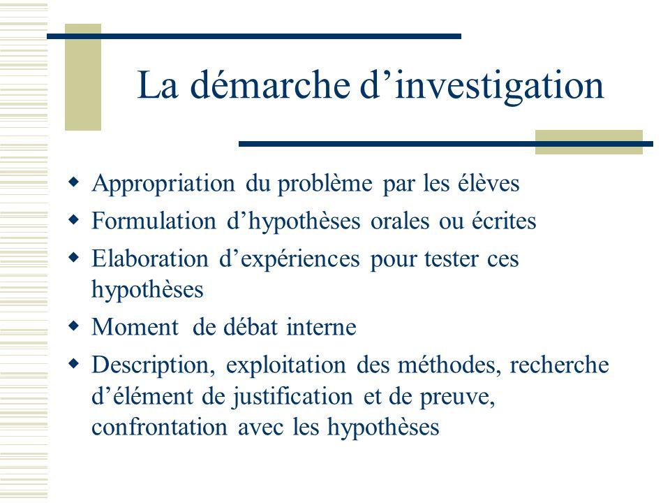 La démarche dinvestigation Appropriation du problème par les élèves Formulation dhypothèses orales ou écrites Elaboration dexpériences pour tester ces