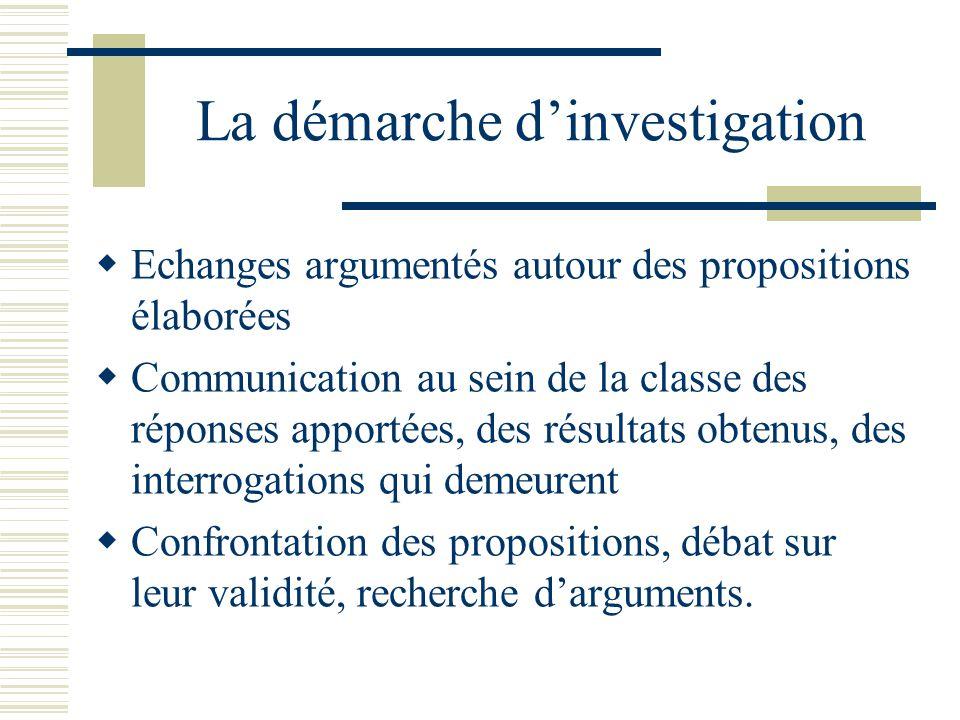 La démarche dinvestigation Echanges argumentés autour des propositions élaborées Communication au sein de la classe des réponses apportées, des résult