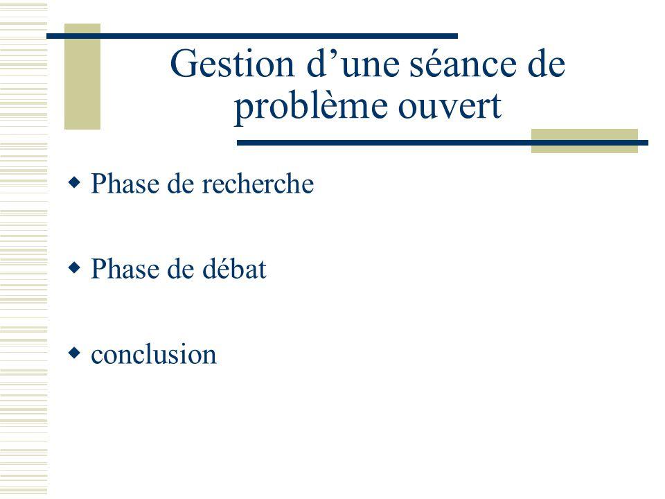 Gestion dune séance de problème ouvert Phase de recherche Phase de débat conclusion