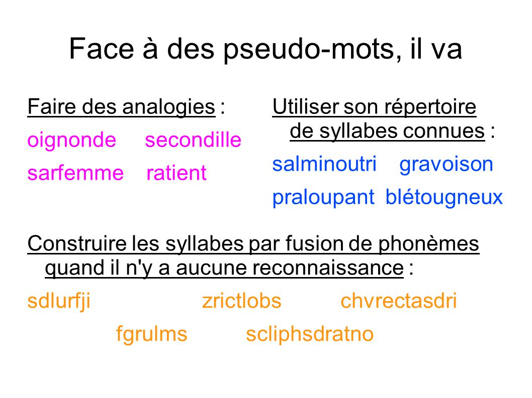 Face à des pseudo-mots, il va Faire des analogies : oignonde secondille sarfemme ratient Utiliser son répertoire de syllabes connues : salminoutri gra