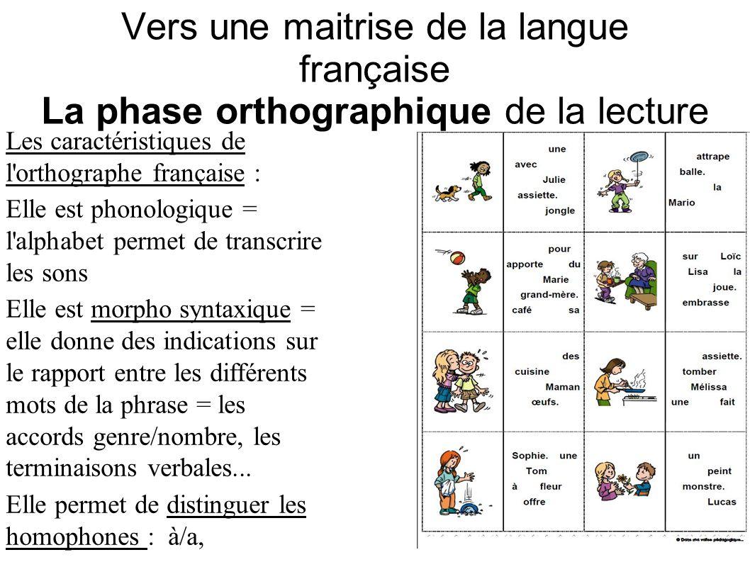 Vers une maitrise de la langue française La phase orthographique de la lecture Les caractéristiques de l'orthographe française : Elle est phonologique