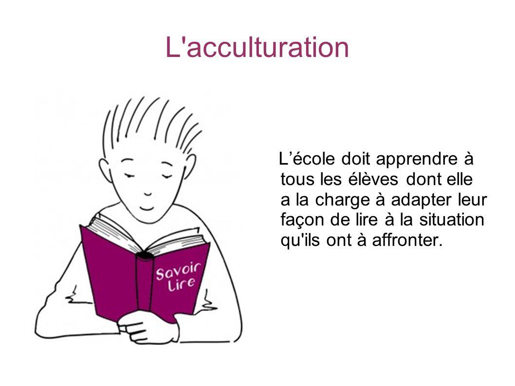L'acculturation Lécole doit apprendre à tous les élèves dont elle a la charge à adapter leur façon de lire à la situation qu'ils ont à affronter.
