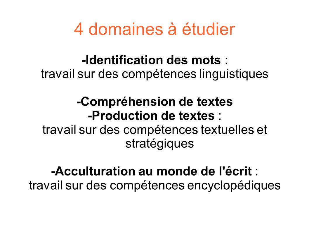4 domaines à étudier -Identification des mots : travail sur des compétences linguistiques -Compréhension de textes -Production de textes : travail sur