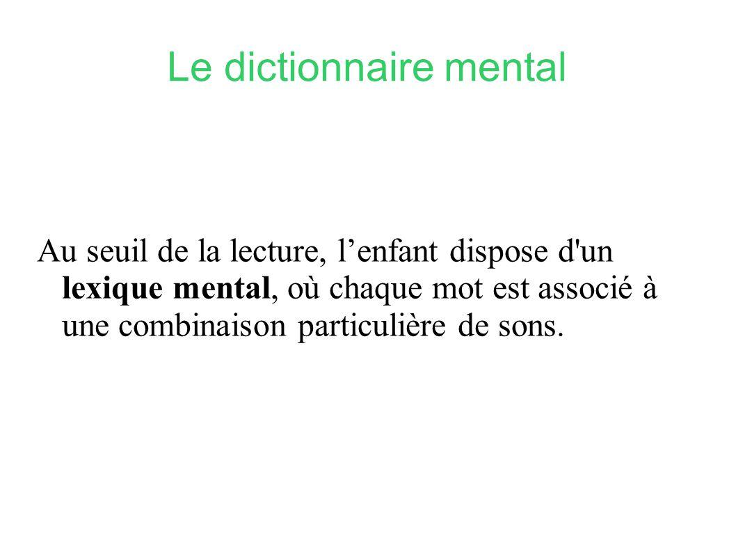 Le dictionnaire mental Au seuil de la lecture, lenfant dispose d'un lexique mental, où chaque mot est associé à une combinaison particulière de sons.