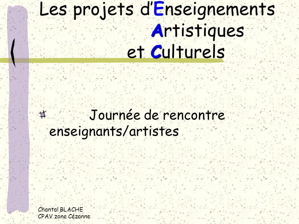 Chantal BLACHE CPAV zone Cézanne A C Les projets dEnseignements Artistiques et Culturels Journée de rencontre enseignants/artistes