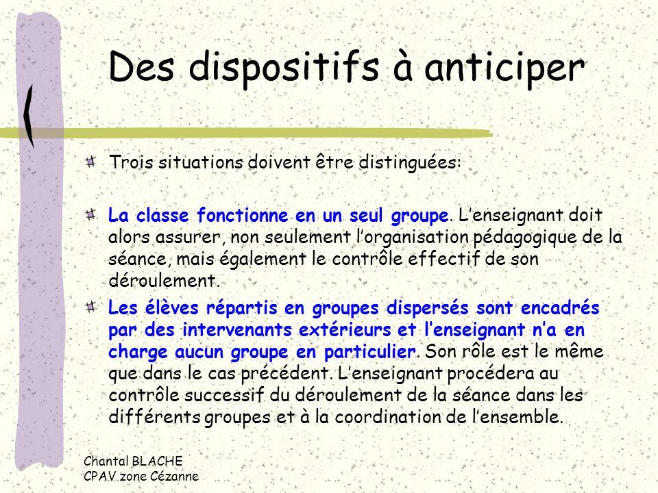 Chantal BLACHE CPAV zone Cézanne Des dispositifs à anticiper Trois situations doivent être distinguées: La classe fonctionne en un seul groupe.