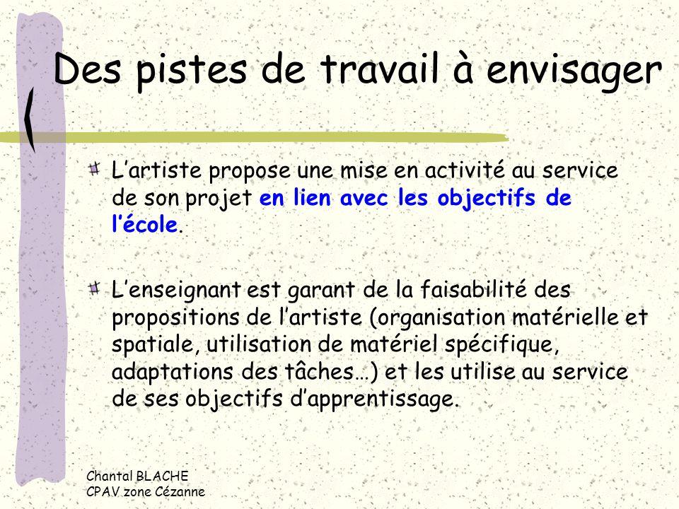 Des pistes de travail à envisager Lartiste propose une mise en activité au service de son projet en lien avec les objectifs de lécole.
