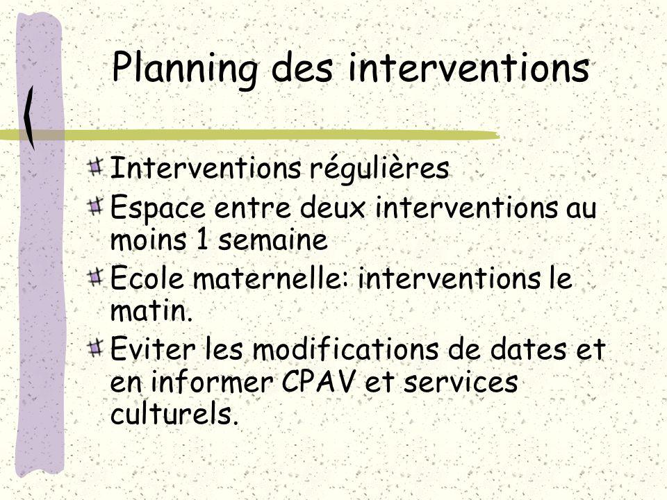 Planning des interventions Interventions régulières Espace entre deux interventions au moins 1 semaine Ecole maternelle: interventions le matin.