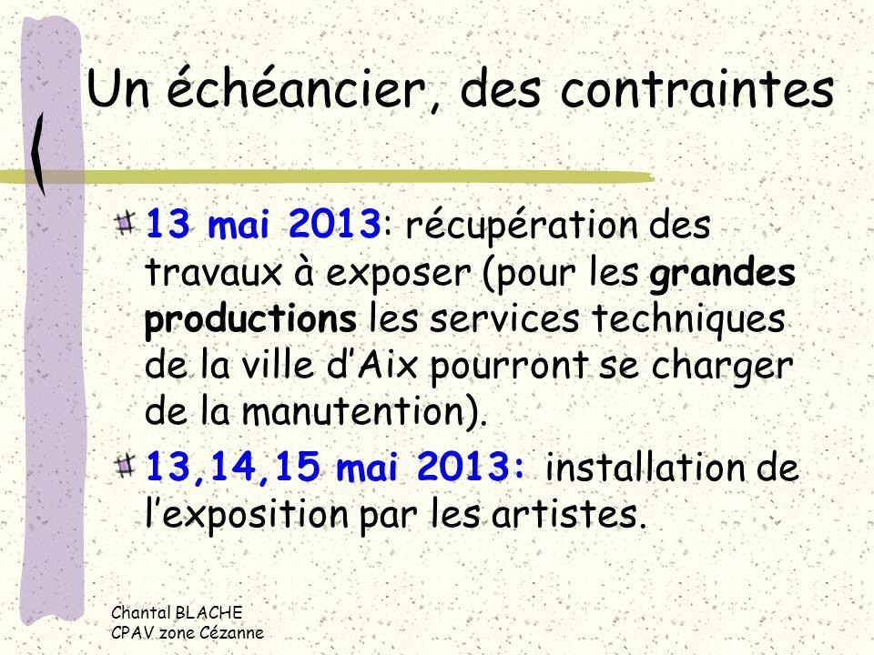 Un échéancier, des contraintes 13 mai 2013: récupération des travaux à exposer (pour les grandes productions les services techniques de la ville dAix pourront se charger de la manutention).