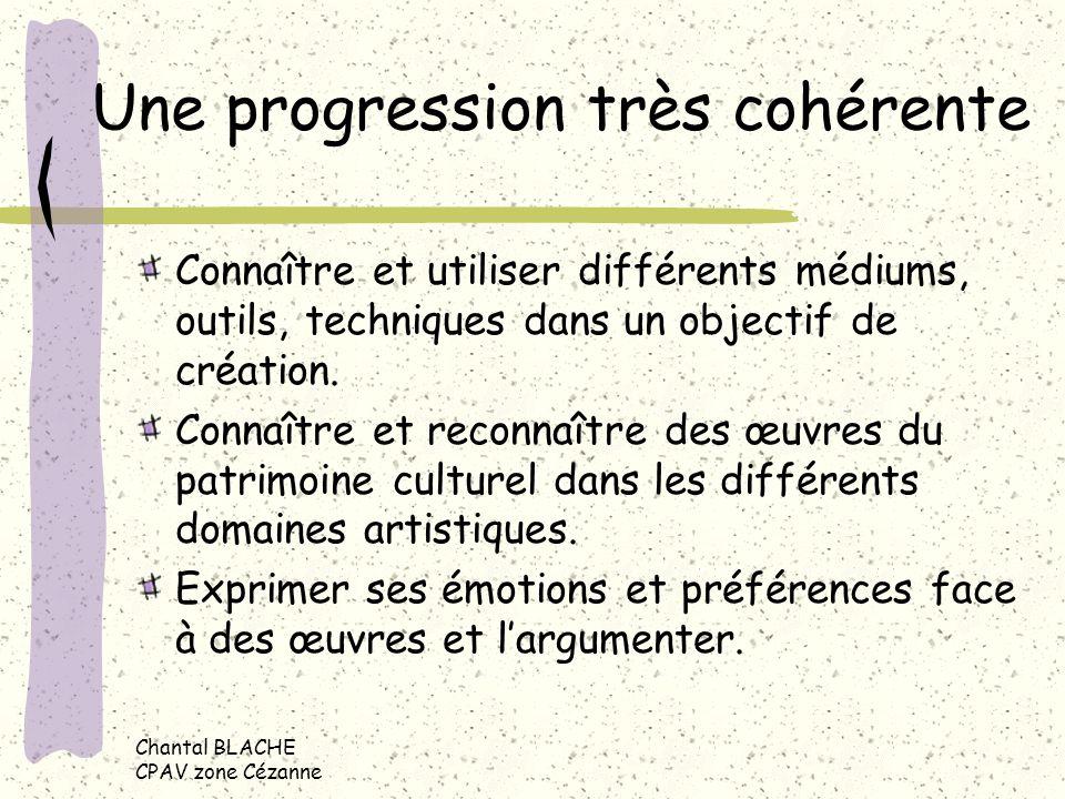 Chantal BLACHE CPAV zone Cézanne Une progression très cohérente Connaître et utiliser différents médiums, outils, techniques dans un objectif de création.
