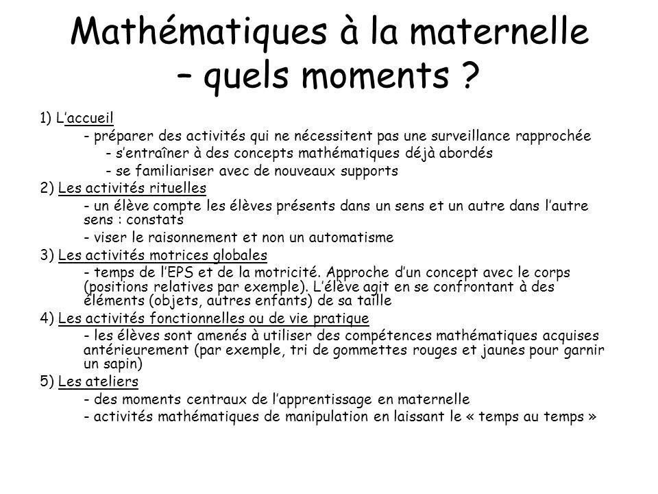 Mathématiques à la maternelle – quels moments ? 1) Laccueil - préparer des activités qui ne nécessitent pas une surveillance rapprochée - sentraîner à