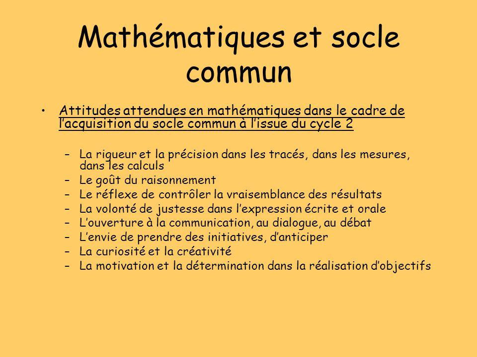 Mathématiques et socle commun Attitudes attendues en mathématiques dans le cadre de lacquisition du socle commun à lissue du cycle 2 –La rigueur et la