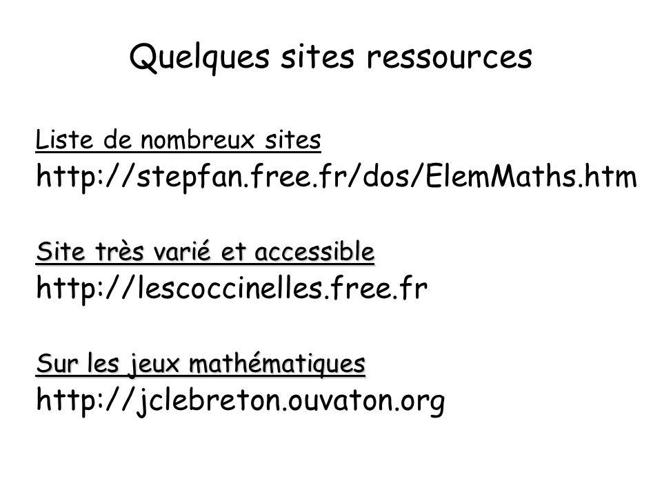 Quelques sites ressources Liste de nombreux sites http://stepfan.free.fr/dos/ElemMaths.htm Site très varié et accessible http://lescoccinelles.free.fr Sur les jeux mathématiques http://jclebreton.ouvaton.org