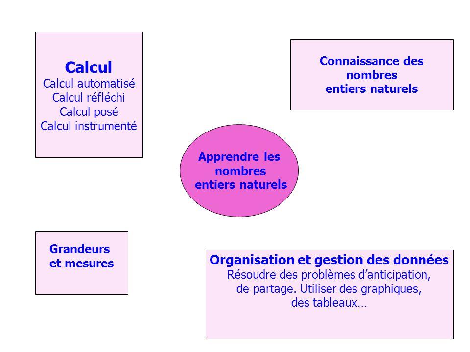 Apprendre les nombres entiers naturels Calcul Calcul automatisé Calcul réfléchi Calcul posé Calcul instrumenté Organisation et gestion des données Résoudre des problèmes danticipation, de partage.