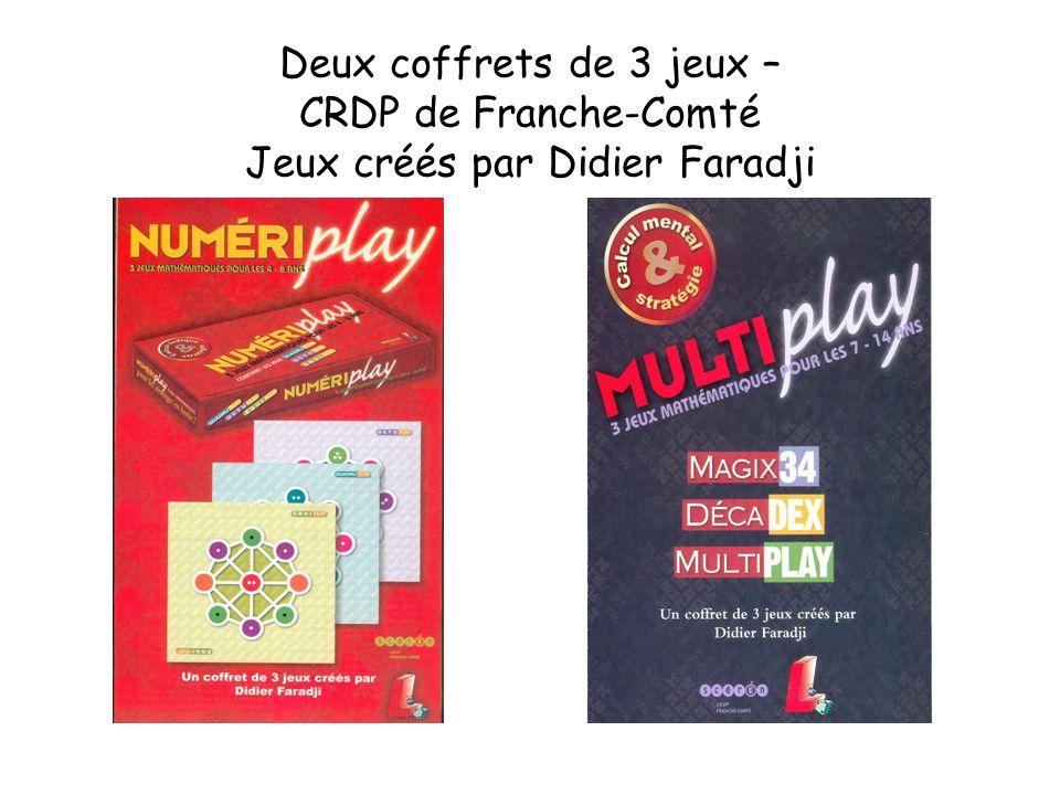 Deux coffrets de 3 jeux – CRDP de Franche-Comté Jeux créés par Didier Faradji