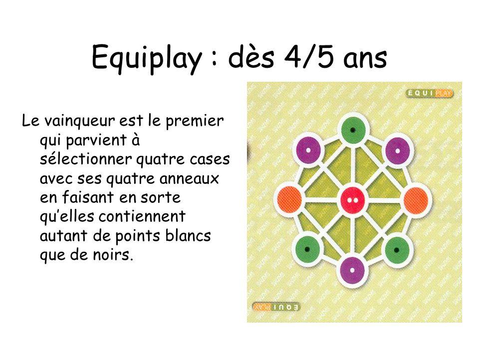 Equiplay : dès 4/5 ans Le vainqueur est le premier qui parvient à sélectionner quatre cases avec ses quatre anneaux en faisant en sorte quelles contiennent autant de points blancs que de noirs.