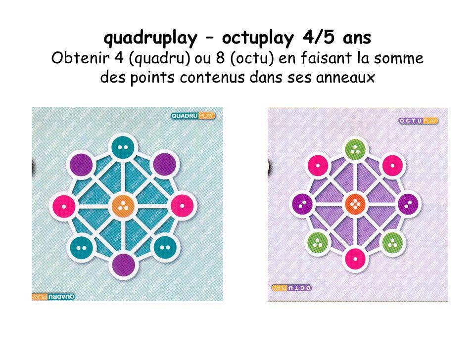 quadruplay – octuplay 4/5 ans Obtenir 4 (quadru) ou 8 (octu) en faisant la somme des points contenus dans ses anneaux