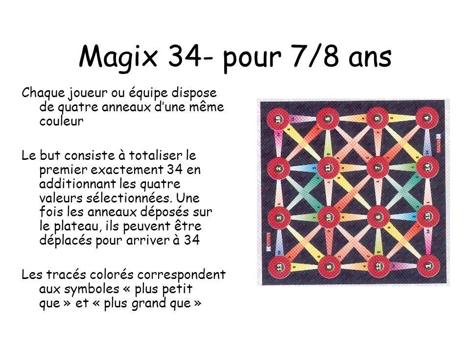 Magix 34- pour 7/8 ans Chaque joueur ou équipe dispose de quatre anneaux dune même couleur Le but consiste à totaliser le premier exactement 34 en additionnant les quatre valeurs sélectionnées.