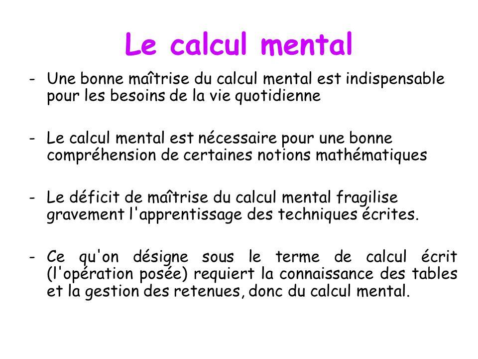 Le calcul mental -Une bonne maîtrise du calcul mental est indispensable pour les besoins de la vie quotidienne -Le calcul mental est nécessaire pour une bonne compréhension de certaines notions mathématiques -Le déficit de maîtrise du calcul mental fragilise gravement l apprentissage des techniques écrites.