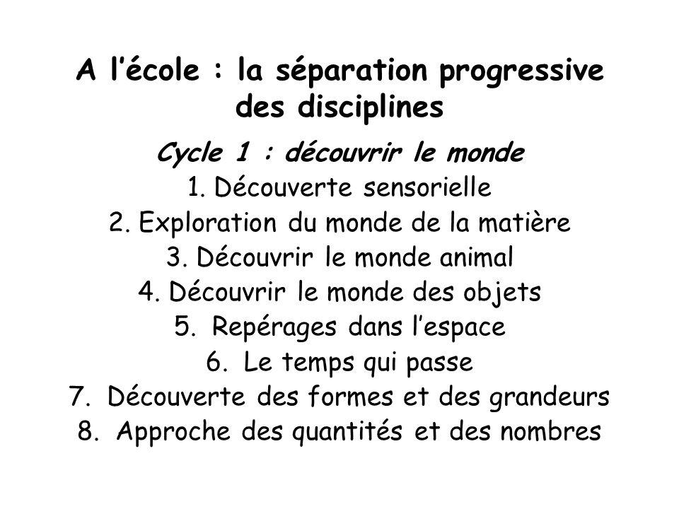 A lécole : la séparation progressive des disciplines Cycle 1 : découvrir le monde 1. Découverte sensorielle 2. Exploration du monde de la matière 3. D