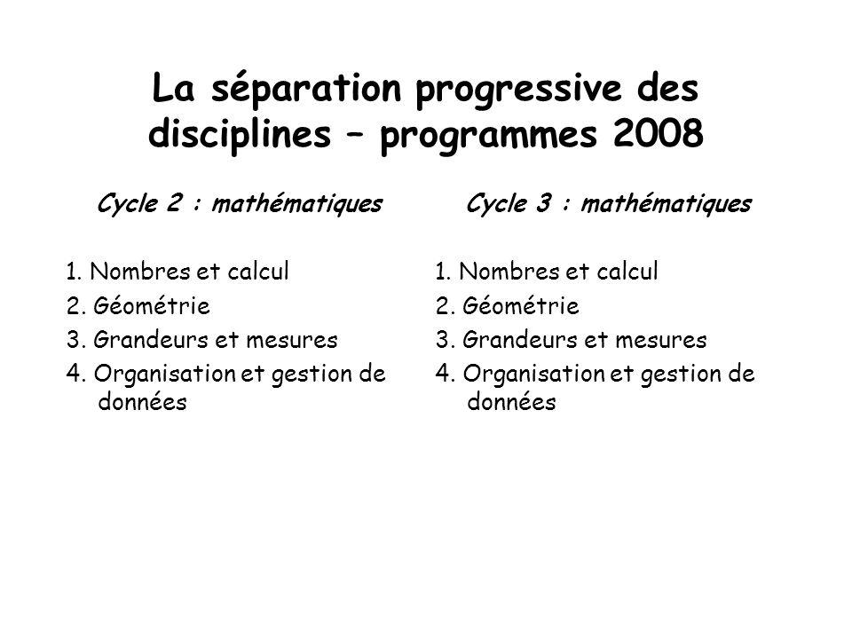 La séparation progressive des disciplines – programmes 2008 Cycle 2 : mathématiques 1. Nombres et calcul 2. Géométrie 3. Grandeurs et mesures 4. Organ