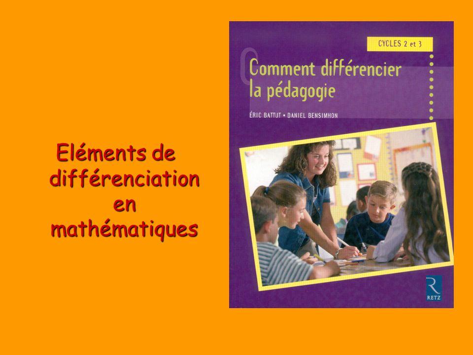 Eléments de différenciation en mathématiques