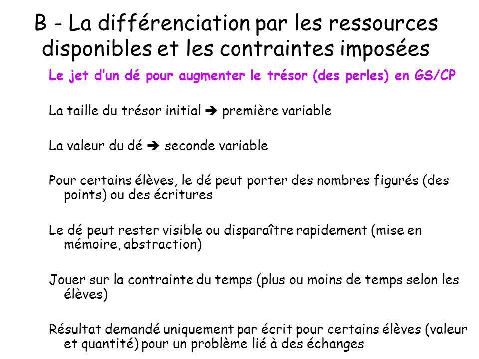 B - La différenciation par les ressources disponibles et les contraintes imposées Le jet dun dé pour augmenter le trésor (des perles) en GS/CP La tail